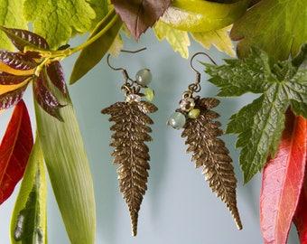 Earrings: Green Aventurine, Swarovski Crystal and bronze leaves.
