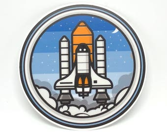 Rocketship Sticker for Laptop, Stickers for Yeti Cup, Space Sticker, Cute Laptop Stickers, Circle Sticker, Gift for Him, Tumblr Stickers
