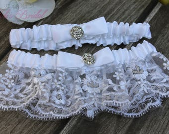 FAST Shipping!!!!  Beautiful White Wedding Garter Set, Bridal Garter Set, Rhinestones Garter, Lace Garter Set, Toss Garter, Tossing Garter