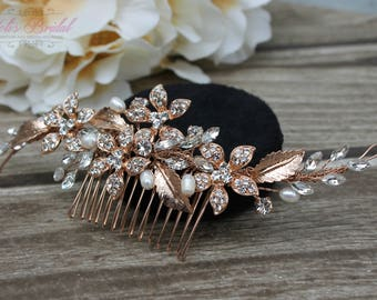 FAST SHIPPING!!! Rose Gold Bridal Hair Comb, Rose Gold Wedding Hair Comb, Crystal Hair Comb, Swarovski Hair Comb, Crystal Headpiece