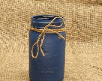 Navy Blue Kerr Jar - Chalk Painted - Rustic Distressed - End of Summer Sale