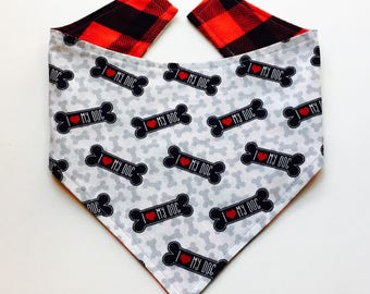 XXS-S I Love My Dog Bandana- Ready to Ship