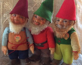 Vintage Steiff Gnomes / Steiff Christmas Elf / Set of 3