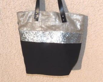 flax lame Silver metallic/black band silver glitter, black leather handles