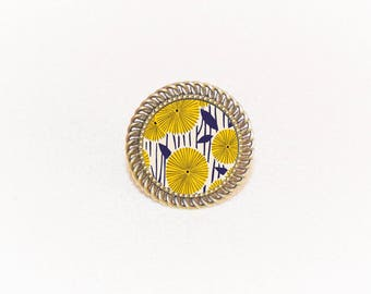 Bronze ring adjustable Navy Blue and yellow dandelions pattern cabochon, vintage style