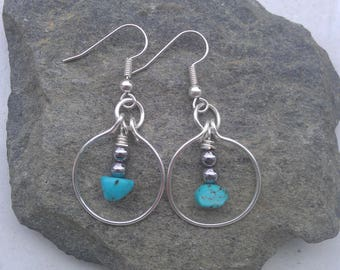 Silver turquoise earrings, turquoise earrings, silver circle earrings, silver hoop earrings, boho silver earrings, boho hematite earrings