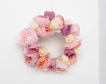 pink paper flower wreath