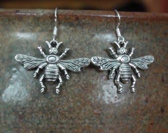 Double-sided Silver Honeybee Charm Unisex Dangle Earrings .925 Sterling Ear Wire