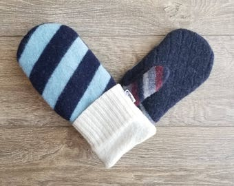Best Wool Sweater Mittens // Womens Sweater Mittens // Fleece Lined mittens // Blue and White Stripes