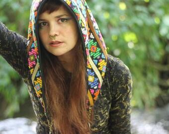 Boho gypsy hood, festival hood, reversible hood, rave hood, hippie hood, gypsy hood, pixie hood, festival clothing