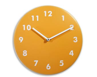 Yellow wall clock. Kitchen wall clock. Numbers clock. Wood wall clock. Solid color on mdf, engraved numbers.  CL4015