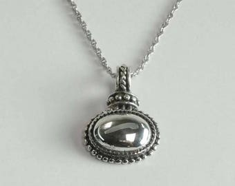 Vintage Sterling Silver Rope Twist Bead Work Cabochon Pendant Charm