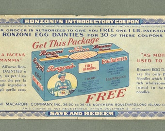 Rare 1934 Ronsoni Introductory Coupon Fine Egg Dainties Noodle Long Island City Free USA Shipping