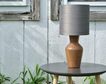 The Butcher Table Lamp, Modern Table Lamp with Walnut Base