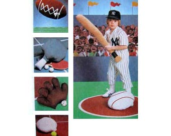 Set of Sports Pillows, Football, Baseball, Tennis, Soft Toy Sewing Pattern Vintage 1970's Uncut Simplicity 9130
