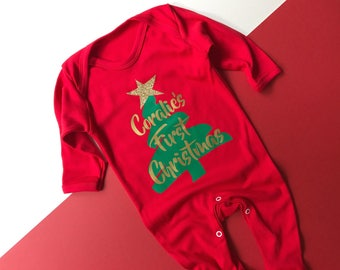 Personalised 1st Christmas Outfit | My First Christmas Outfit Boy | My First Christmas Outfit Baby Girl | Baby's 1st Christmas Romper
