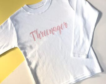 READY TO SHIP: Threenager White Top | 3rd Birthday Outfits | Toddler Birthday Outfit