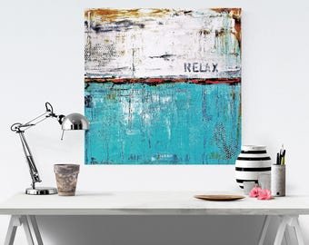 Art Print Wall Art  ,Painting , abstract painting    wall art with aqua and white.Modern Painting Jolina Anthony