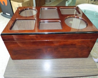 Vintage High Gloss Wood Box, Photo Storage Box 4 Deep Compartments and a Photo Frame Lid
