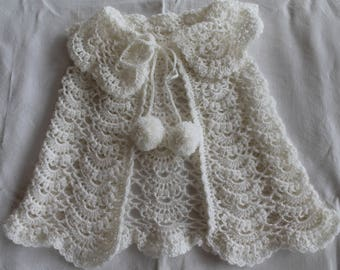 knit cape, white, baby, baptism or ceremony knitted hand