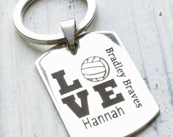Volleyball Team Player Personalized Key Chain - Engraved
