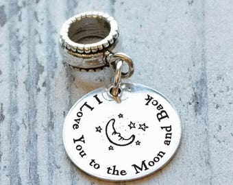 Love You to the Moon Personalized Engraved Charm Bead