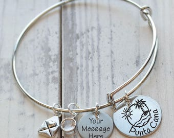 Beach Vacation Wire Adjustable Bangle Bracelet