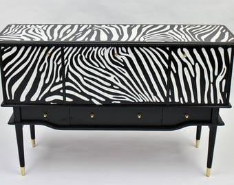 Upcycled sideboard with Zebra theme design