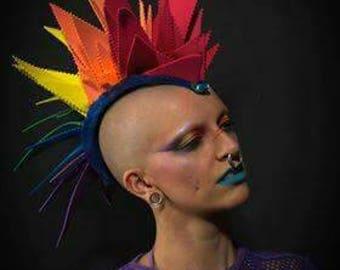 Rainbow headpiece headdress Mohawk pride