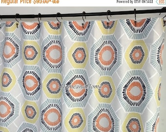 weekend sale custom fabric shower curtain charm spa blue taupe 72 x 84 108 54 x