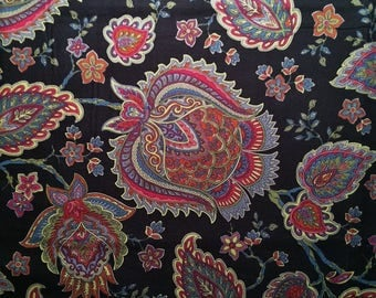 Cotton Fabric | Paisley Floral Quilting Fabric | Vibrant Floral Colors | Timeless Classic