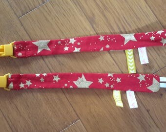 Star Red blanket or pacifier clip