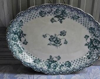 "English Ironstone serving platter, huge antique transferware, ""Chatsworth"" design, authentic 1890's Roast tray/plate, Ford & Sons Burslem"