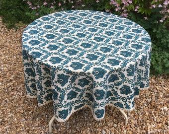 French Tablecloth, Vintage Cretonne, Round Fringed Beautiful Vintage Cotton  Turquoise Floral,flower 1950u0027s