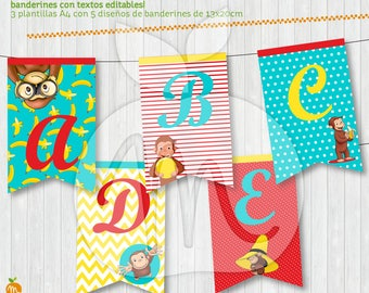 Printable and editable texts banners kit with Curious George! Happy birthday! INSTANT DOWNLOAD!