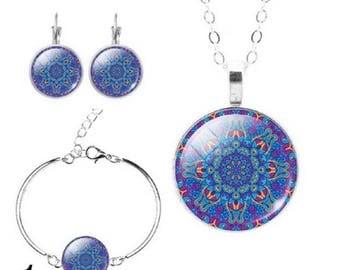 colorful Mandala Ring and Bracelet Set, Handmade, Antique Bronze, Boho Jewelry, Vintage, Gift, Bundle Price, Free shipping to the US