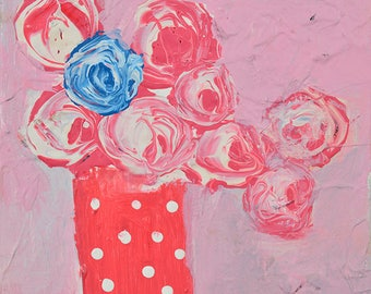 Pink Roses Painting Cottage Chic Decor Flowers Blue Rose Romantic Art Gifts for Her. 95