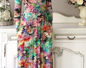 Floral Maxi Dress Round Neckline Long Sleeves Pockets Sash