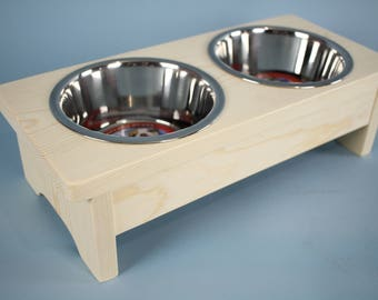 Unfinished Raised Pet Bowl Feeder for dogs or cats Ready to ship!
