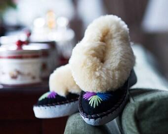 Cream sheepskin slippers