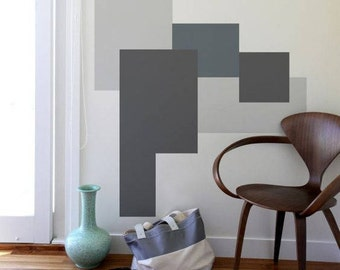 Large rectangles wallpaper, geometric, self adhesive, temporary, removable nursery mb108