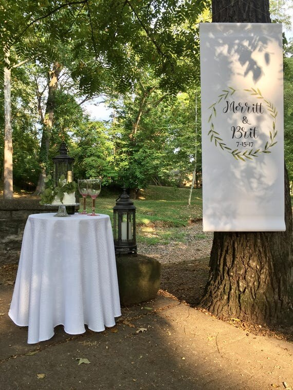 Wedding Backdrop -Personalized Wedding  Sign - Greenery Wreath - Wedding Banner Sign - Signs - Backdrops - Wedding Backdrops -  Wedding