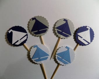 Sailboat Cup Cake Toppers, Baby Shower Cup Cake Toppers, Birthday Cup Cake Toppers, Cup Cake Topper, Nautical Party Decoration, Nautical