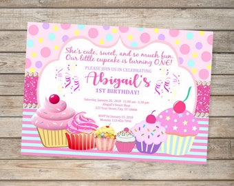 Cupcake invites etsy cupcake birthday invitation ist birthday or any age printable pink cupcakes first birthday party invitation filmwisefo Gallery