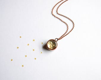 Mini Gold Star Sprinkles Necklace - handmade copper mini pendant jewellery