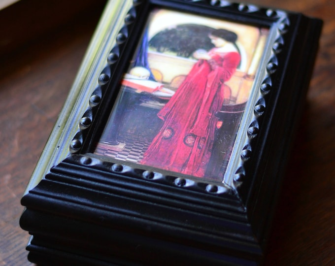 RED LADY BOX, tarot card storage, oracle deck, wood box, hinged wood box, box with lid
