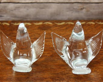 Pair of Clear Glass Birds | Whimsically Posed Doves | Perfect for a Sunny Window | Very Pretty!