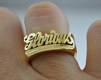 Name ring gold,Cursive font name ring,Knuckle name ring 24k gold,Word name ring,Couples name rings, phrase rings.