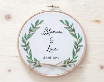 Wedding embroidery hoop - Olive tree