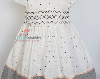 Gorgeous hand smocked toddler dress with hand embroidery